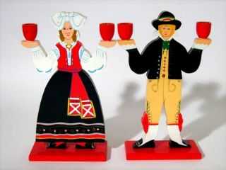 2 Signed Tall Dala Candle Holder Sweden Costume Folk Art Painted Wood photo
