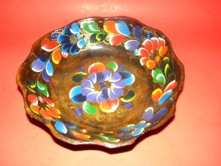 Wood Bowl Floral Folk Art photo