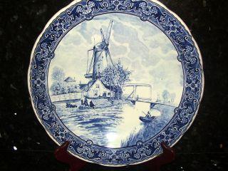 Vintage - Boch Blue & White Delft Windmill Scene Charger Plate Pretty photo