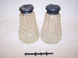 Antique Cut Glass Salt & Pepper Shakers W/ Sterling Tops & Unusual Agitator photo