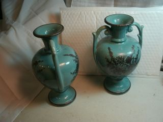 Pair Of Vintage Antique Ceramic Green Flowers With Handle Vases By Haeger Usa photo