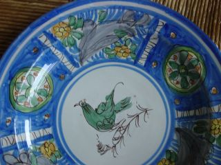 Antique Hand Painted Polychrome Large Continental Faience Charger With Bird Nr photo