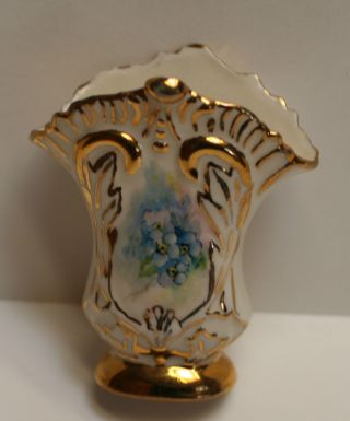 Fan Shape Toothpick Holder Or Mini Vase,  Vtg Hand Pt Pastel Florals Porcelain photo