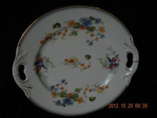 Antique Austria Plate W Hallmark Ducks Birds Floral Bamboo Gilt Rim photo