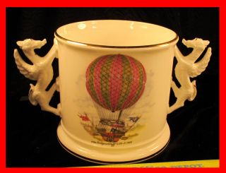 Royal Vale China Dragon Handled Hot Air Balloon Flower Cache Pot Vase Jardiniere photo