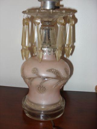 Vintage Crystal Pink Prism Glass Base Lamp photo