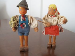 Vintage Antique Collectible Hansel & Gretel German Hand - Painted Wooden Dolls photo
