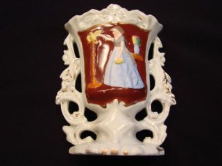 Vintage Victorian Vase - Lady W/ Bird,  5 1/4 In.  High photo