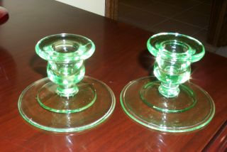 Pair Glass Candle Stick Holders - Vaseline Glass photo