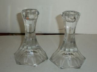 Cut Glass Candlestick Holders Unmarked Great Brillance Set Of 2