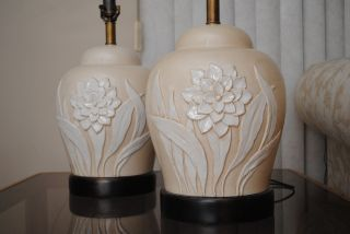 2 Mid Century Regency Modern Frederick Cooper Floral Lamps photo