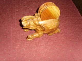 Hand Carved Wooden Elephant Coaster Holder 6 Coaster photo