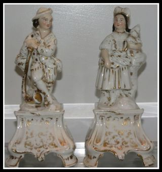 Unusual Pair Of Antique Staffordshire Pottery Figures Nr photo