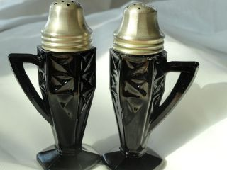 Art Deco 6 Sided Black Amethyst Salt Pepper Shakers Handles Hexagon Footed photo