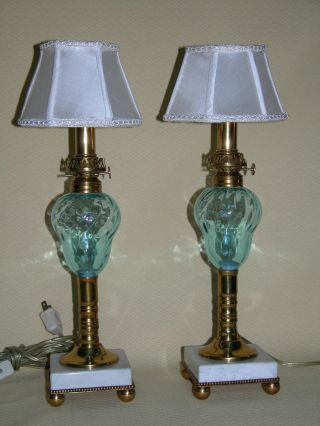 Antique Blue Glass Font Oil Lamp W/ White Marble Base,  Cleaned & Rewired photo