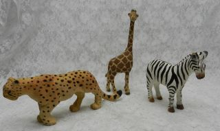 3pc Wood Carved Wild Animals Giraffe Leopard Zebra photo