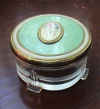 Antique Vintage Glass Art Deco Dresser Jar With Brass Hand Painted Floral Lid photo