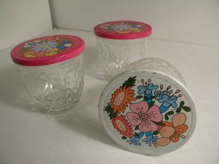 Vintage Ball Mason Jelly Jars 1970s Pink White Floral photo