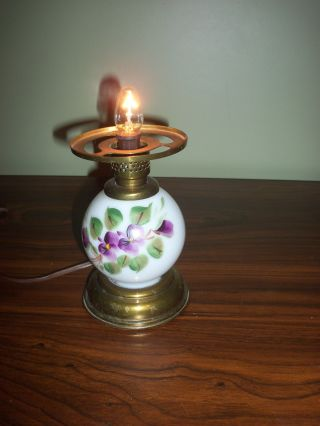Glass Painted Floral Pattern Candle Bulb Lamp With Brass Base photo