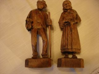 Vintage Antique Carved Elderly Wooden Couple photo