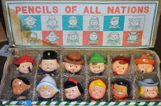 Vintage Rare Complete Set Carved Wood Painted Pencils Children Of All Nations photo