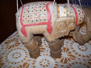 Hand Carved Elephant Puppet Wood photo