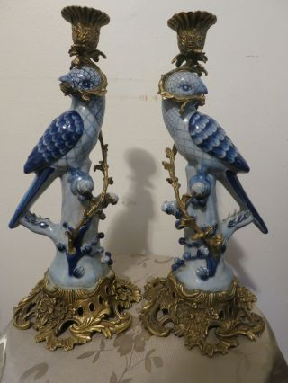 Antique Set Of 2 Candle Holder White And Blue Porcelain Bird With Brass photo