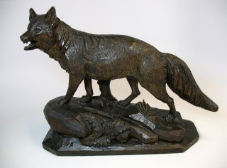 Early Large Carved Black Forest Wood Fox Statue Or Figure photo