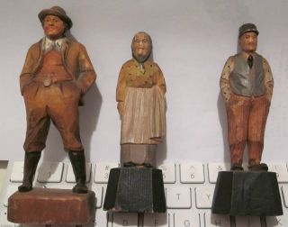 Hand Carved Wooden 3 Figures/bavarian photo