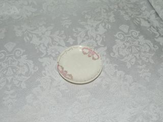 Antique Butter Pat Hand Painted Pink & Gold Swag W/flowers photo