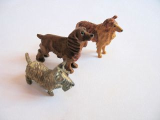 Vintage American Folk Art Miniature Wood Dog Carvings Set Of 3 photo