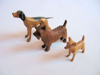 Vintage American Folk Art Miniature Wood Dog Carvings Set Of 3 Lot 2 photo