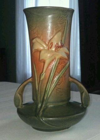 Roseville Zephyr Lily Vase 131 - 7,  Green/orange photo