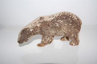 Black Forest Carved Wooden Polar Bear Hallmarked Germany On Belly 4.  5