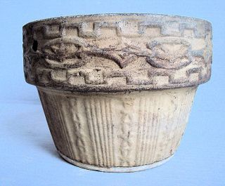 Antique Unglazed Stoneware Flower Pot With Pressed/embossed Pattern photo
