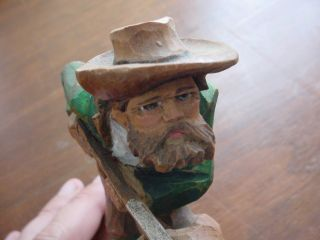 Vintage Wood Carving Hunter Well Made Germany Great Detail photo