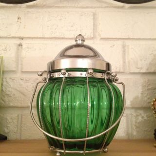 1940s Green Glass Jar With Musical Lid photo