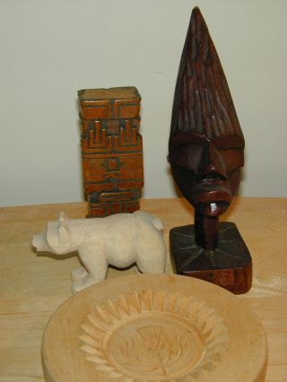 4 Primitive Hand Carved Wood Items Diff.  Styles Diff.  Ages Diff.  Wood. photo