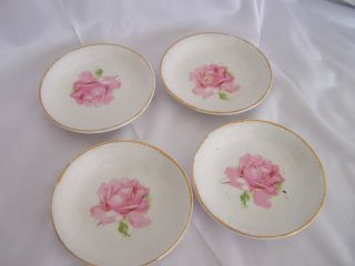 Set Of 4 Antique Butter Pats Gold Trim Pink Rose Center photo