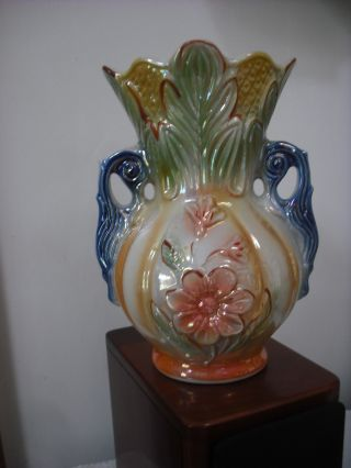 Vintage Iridescent Floral Porcelain Vase,  Made In Brazil / 8 5/8  Tall,  Mint photo