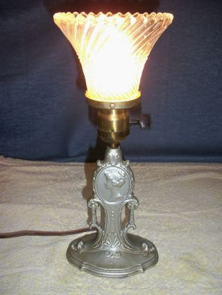 1920 ' S Nickle Plated Spelter Cameo Boudior Table Lamp With Updated Wiring photo