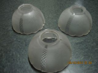 Vintage 3 Pcs Etched Glass Lamp Globes/shades With Daisies - 3  Fitter photo