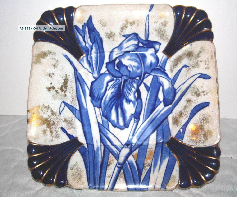 Burroughs & Mountford Creamware Flow Blue Bowl Bowls photo