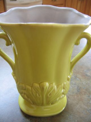 Vintage Yellow Green Ceramic Red Wing Vase 1357 8