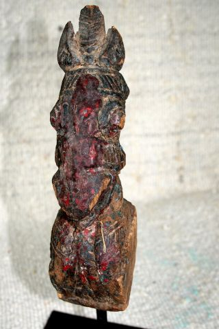Old Polychrome Wooden Horse Prob.  Asian.  Fine Carving Old Patina.  Metal Base photo