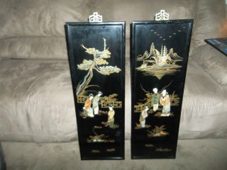 World War Ii Oriental Onyx Marble Carved Figures Wall Hangings photo