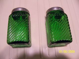 Green Glass Salt And Pepper Shakers photo