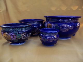 Antique Asian Roya/cobalt Blue Jardinieres 4 Pieces / Pre 1929/brusher Market photo