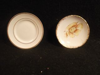 1 - 7 Butter Pats 2 Round No Name W1 Floral Design & 1 Plain photo