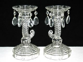 Pretty Pair Uv Glow Pressed Glass Cornucopia Style Candle Holders W/teardrops photo